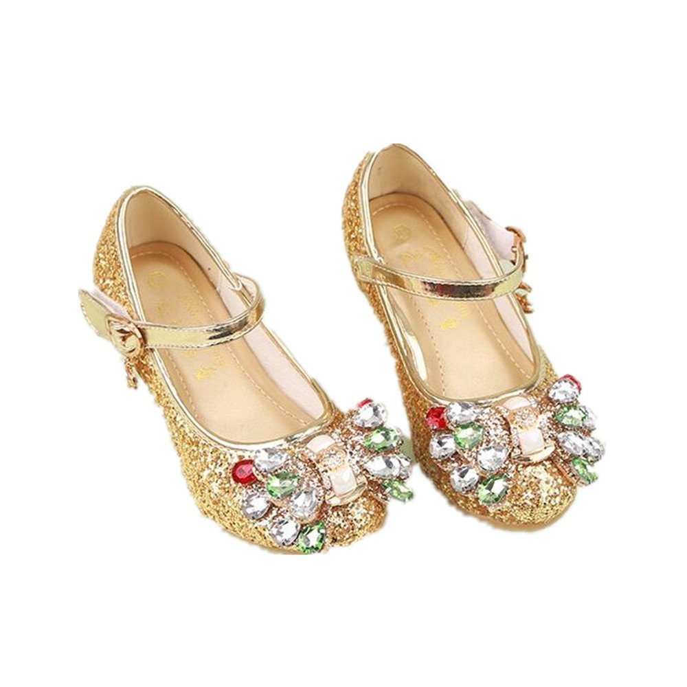Girl's shoes Princess Cosplay Performance Shoes Sequins Dress Shoes Low Heeled (Gold 33/1.5 M US Little Kid) by pit4tk