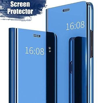 MadBee Funda Huawei P9 Lite(2017) [Protector Pantalla], Fundas de Espejo Elegante Brillante Standing Flip Carcasa Cover Carcasa Funda Case para Huawei ...