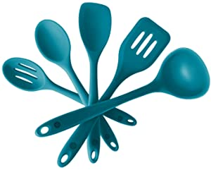"StarPack Basics Silicone Kitchen Utensil Set (5 Piece Set, 10.5"") - High Heat Resistant to 480°F, Hygienic One Piece Design Spatulas, Serving and Mixing Spoons (Teal Blue)"
