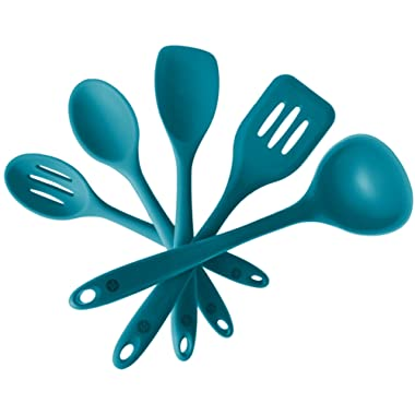 StarPack Basics Range Silicone Kitchen Utensil Set (5 Piece Set, 10.5 ) in FDA Grade + Bonus 101 Cooking Tips - Teal Blue