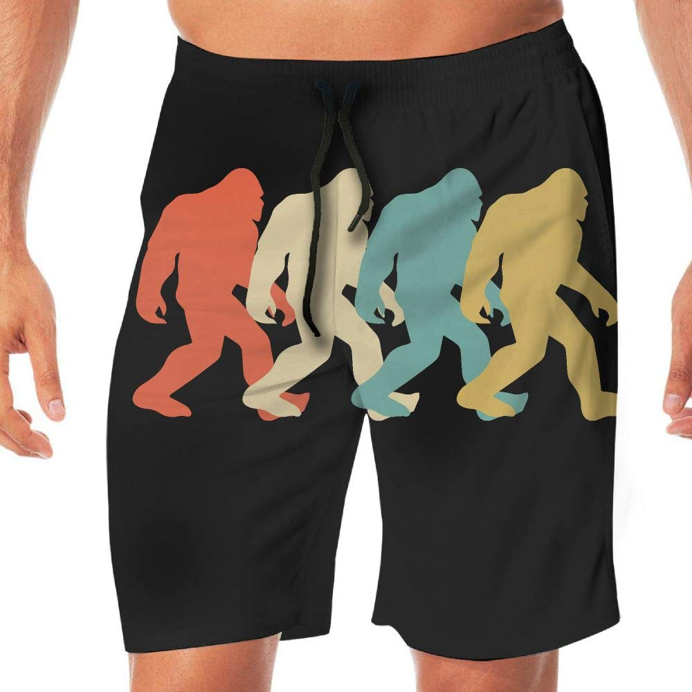 STDKNSK9 Mens Vintage Bigfoot Board Shorts Swim Trunks No Mesh Lining