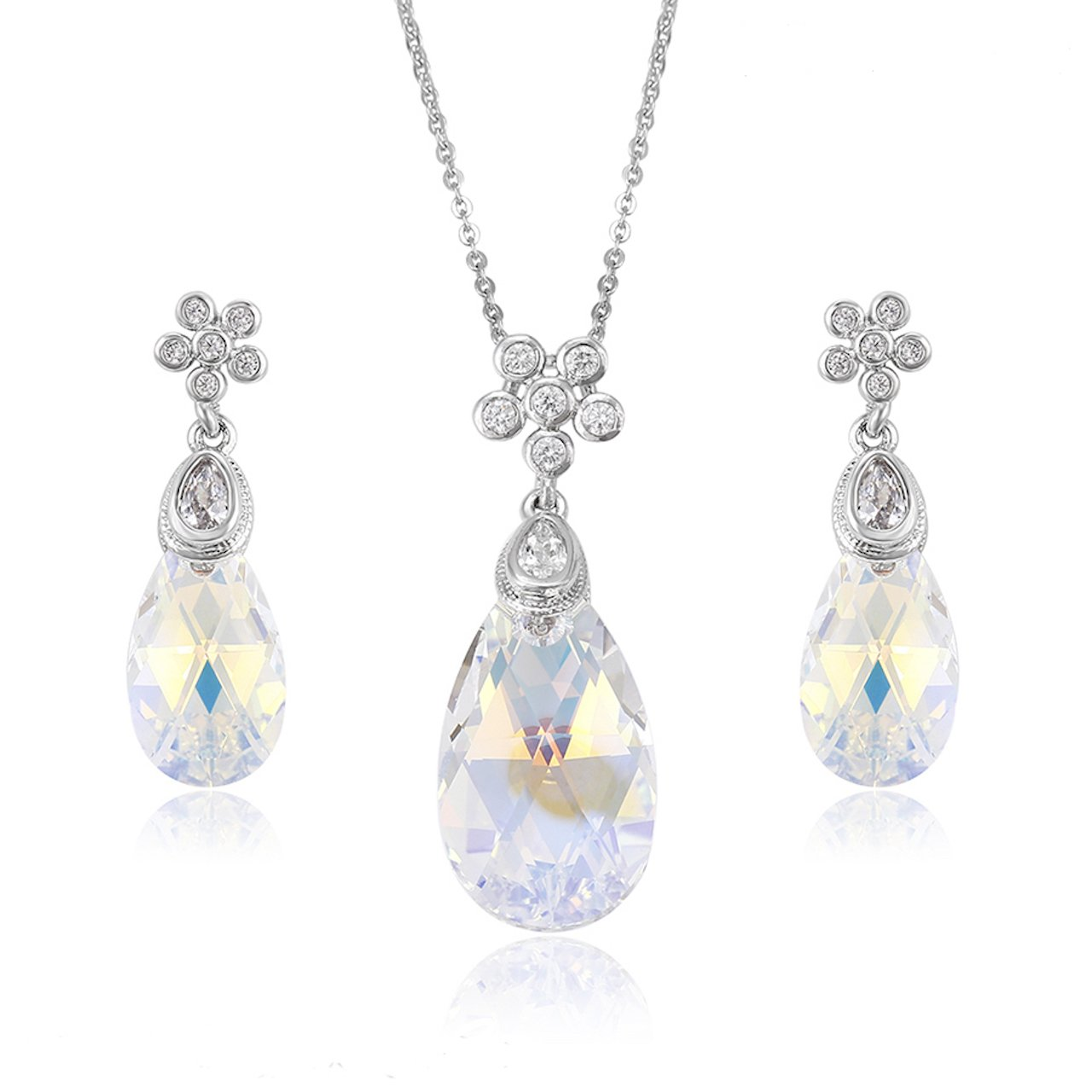 Crystals from Swarovski 'Raindrop-falling-off-A-Flower' Jewellery Set - Office Jewellery or Party Jewellery - Aurora Borealis - Excellent as a Gift Idea