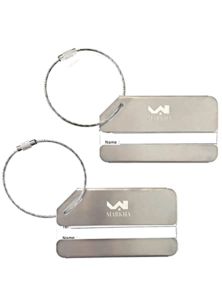 c3fc79a2604f Markha Durable Stainless Steel Luggage Tags – Heavy Duty, Personalized,  Metallic Travel ID Label identifiers for Suitcase (2 Pack)