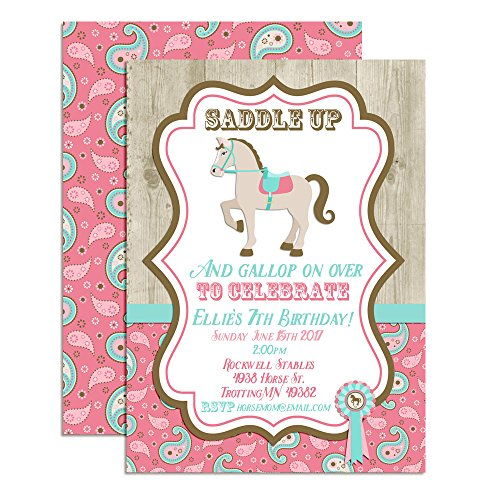Horse, Show Horse Custom & Personalized Birthday Party Invitations for Girls, Twenty 5