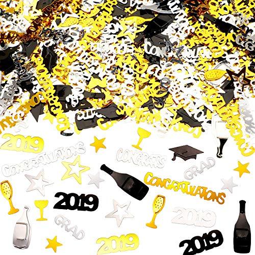 WJBB 2019 Graduation Confetti Party Decoration Set Congratulations, Grad, bottle, Cap, 2019 and Goblet Shapes Confetti for Graduation Party, 2.8 oz Assorted color