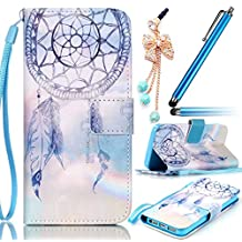 Sunroyal Samsung Galaxy S6 Edge G9250 SM-G925 Leather Case [ not for Samsung GalaxyS6 Edge Plus ] Phone Case Premium PU Leather Purse Wallet Folding Flip Folio Case Protection Soft TPU Back Case Cover in Book Style Shiny Sparkling Glitter Bling Rhinestone Diamond Crystal Shell Skin Case Cover with Magnetic Closure & Wrist Hand Strap [ Card Slots ] [Stand Function ] + 1x Bling Glitter Crystal Rhinestone Diamond Pendant Anti Dust Plug + 1x Metal Stylus Touch Pen , Dream Catcher Pattern Case