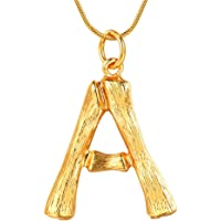 FOCALOOK DIY 26 Letter Charm Bamboo Pendants Women Gold/Platinum Plated Snake Bone Chain Initial Necklace