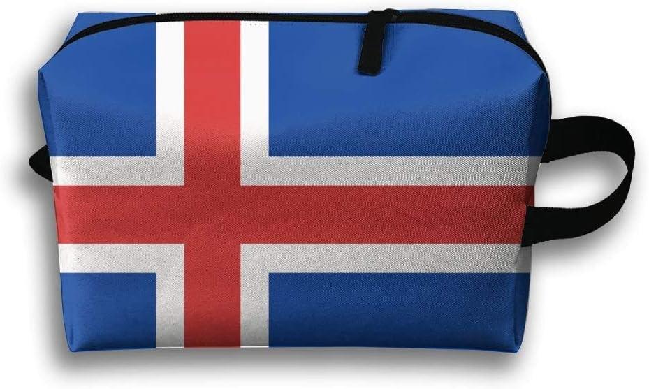 Bolsa de maquillaje portátil La bandera islandesa Bolsas de cosméticos de viaje para regalos para mujeres jóvenes