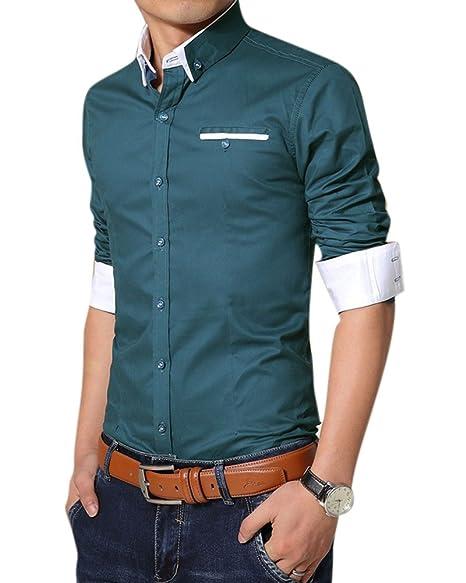 Maniche Camicia Con Slim Affari Fit Lunghe Piega Uomo Anti Zongsen OPXwk80n