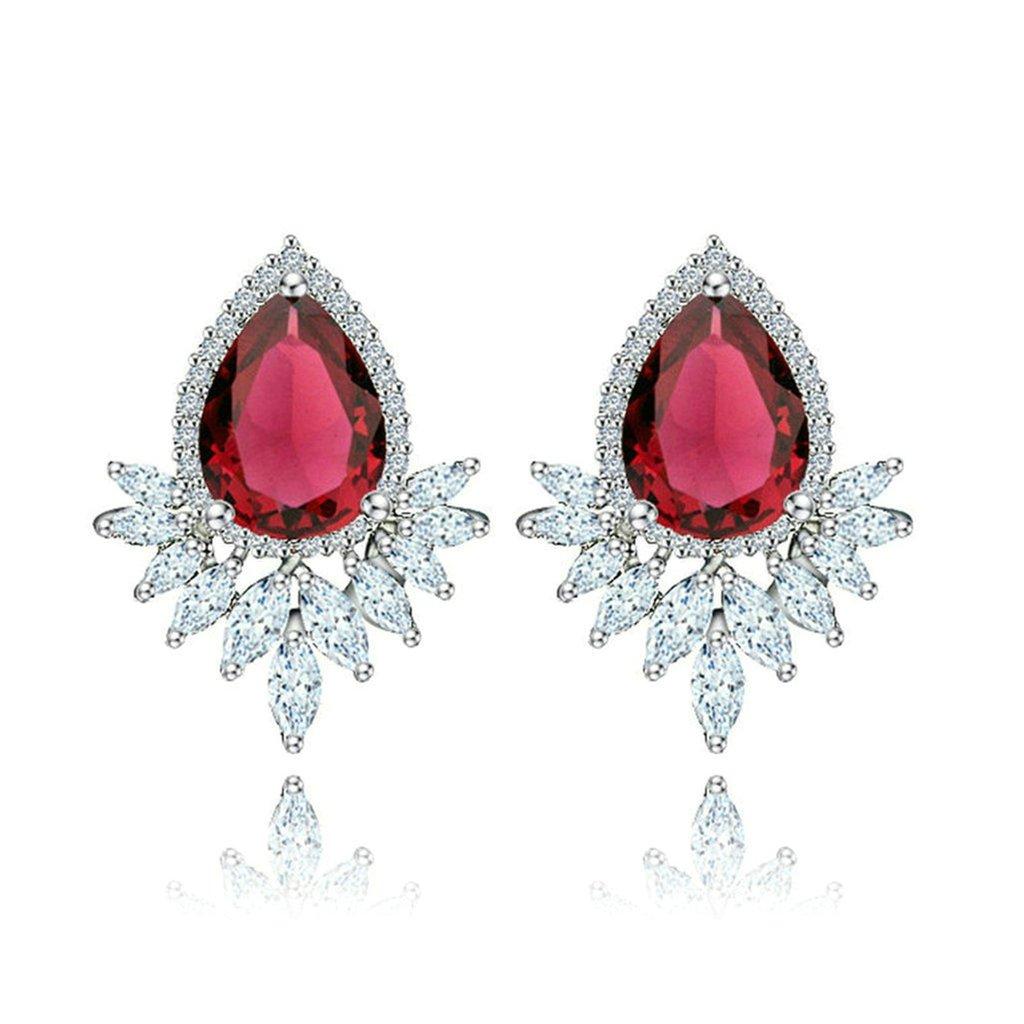 Daesar Gold Plated Earrings Womens Stud Earrings Pure White Cubic Zirconia Earring Flower Oval Earrings