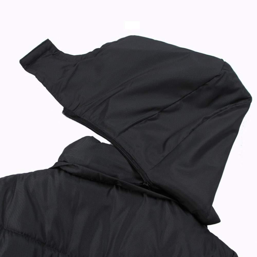 QIANSHION Piumino da Uomo Nero Cappotto Caldo Cappotto Invernale Imbottito con Cappuccio Imbottito Tailored Antivento Caldo Morbido Autunno Inverno Soprabito Cappotti