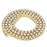 Jstyle CZ Necklace for Women Mens Iced Out Hip Hop Chain Tennis Necklace Gold Tone 24''