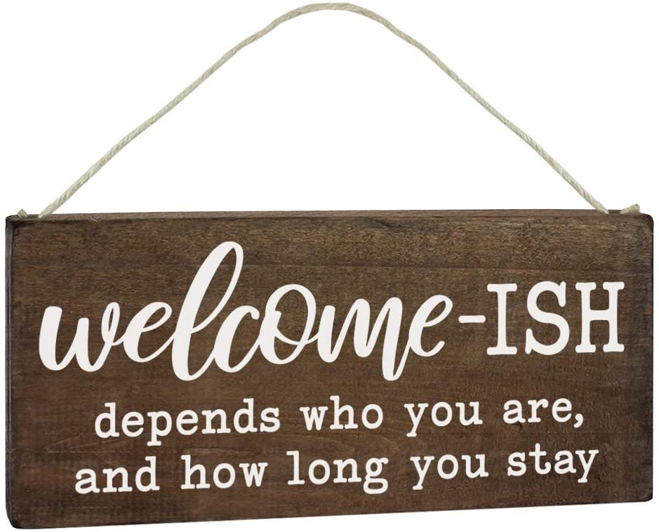 Elegant Signs Welcome Sign for Front Door - Funny Welcome-ish Hanging Wooden Plaque Decoration 5.5x12 - Rustic Wood Farmhouse Home Decor Porch or Entryway Accent