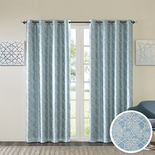 Comfort Spaces Room Darkening Curtains for Bedroom - Yoana Printed Window Curtains Pair - Aqua Blue - 42x95 Inch Panel - Energy Saving Black Out Window Curtain - Grommet Top - Include 2 Panels ()