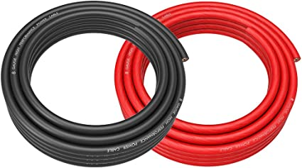 ROCKRIX 8 Gauge 25ft Black and 25ft RED Car Audio Power Ground Soft Touch Wire Cable Set