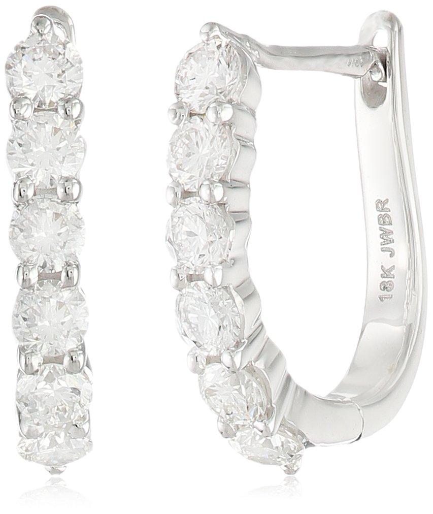 18k White Gold Round Diamond Hoop Earrings (3/4cttw)