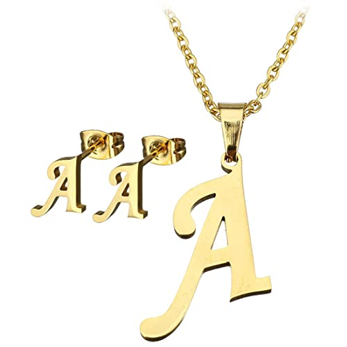 Stainless steel gold plated initial letter pendant necklace and stainless steel gold plated initial letter pendant necklace and earrings stud metal alphabet letters jewelry set aloadofball Gallery