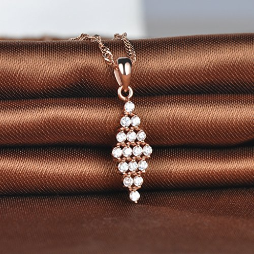 Infinite U Collier pendentif la forme losangé orné zircon brillant en argent fin S925 d'Or rose Pour femme fille Comme cadeau