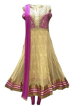 Krishna Sarees Traje Churidar CS3014 Vara de Oro y Rojo Violeta ...