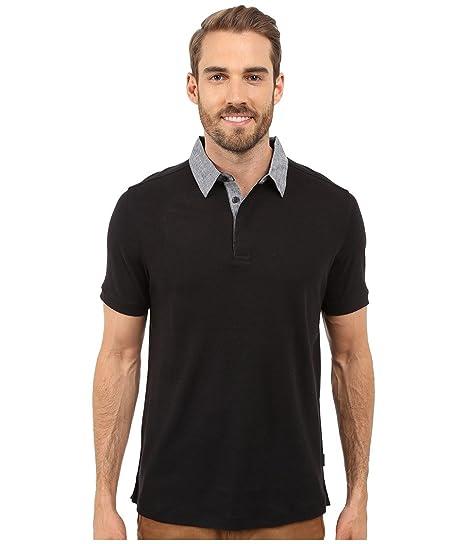 Perry Ellis Camisa de lino y algodón Polo para hombre con cuello ...