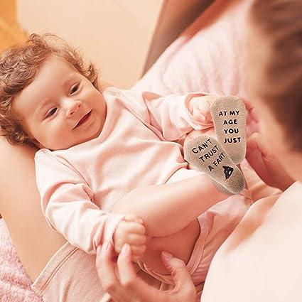 Dsaren Chaussette Bebe Naissance Antid/érapant Doux Chaussettes Coton Dr/ôles Chaussettes Citation Parfait Cadeau Baby Shower Anniversaire Noel