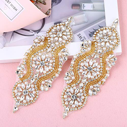 2 Pieces Gorgeous Beaded Applique with Clear Rhinestone, Pearls, Crystal Trim for DIY Design- Perfect for Wedding Cake Decoration, Flower Girl Basket, Bag Decor, Bridal Dress Accessories (Gold)
