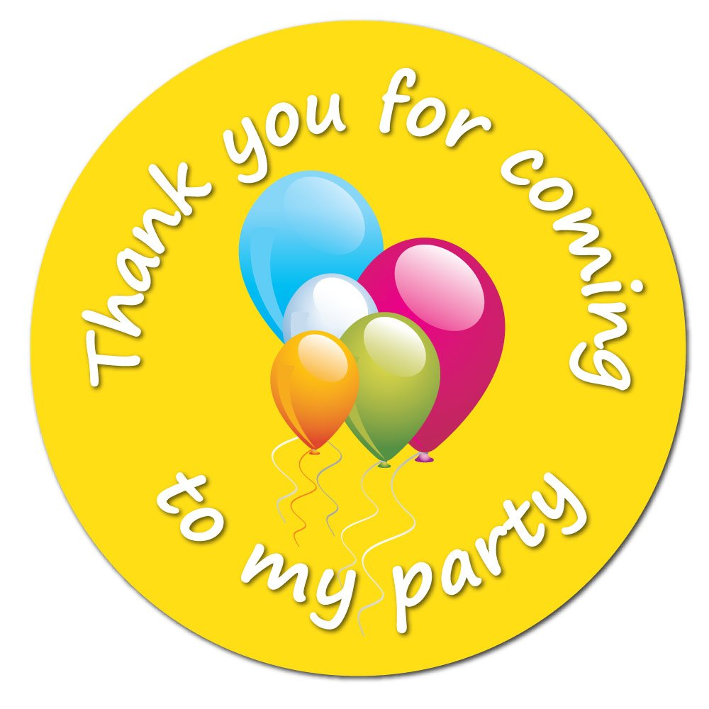 'Thank You For Coming To My Party' - Balloons Yellow - 60mm, Birthday Stickers, party bag seals (12) StickerZone