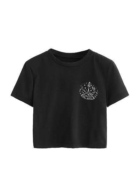 8abb55b5e Amazon.com  SweatyRocks Women s Short Sleeve Print Crop Top T-Shirt Casual  Graphic Tee (X-Large