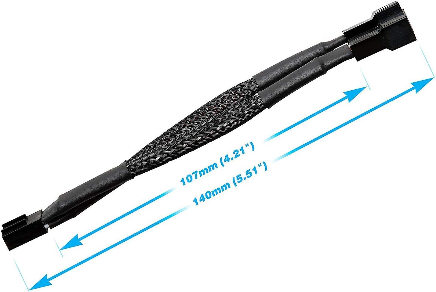 1-Pack Easycargo 30cm Case Fan Extension Cable 3 pin 4 pin Case Fan Power Extension PWM Fan Cable Extension