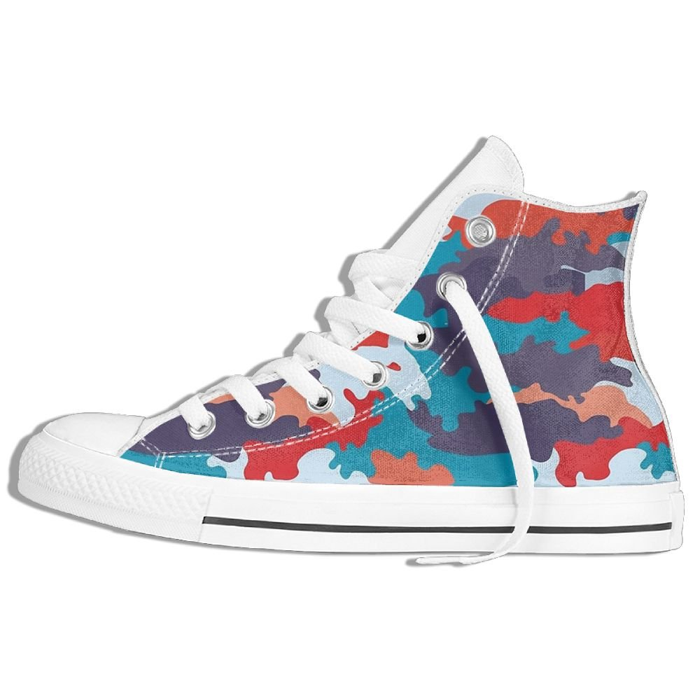 Classic Canvas Shoes Fashion Bright Camouflage Sneakers High Top Casual Trainers