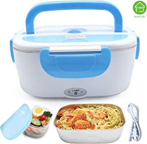 XDeal Electric Warming Lunch Box Food Heater 1.5L 110V Home-Use Plug In Lunch Warmer Portable Bento Box Lunch Heater With Removable 304 Stainless Steel Container Food Grade Material(Blue)
