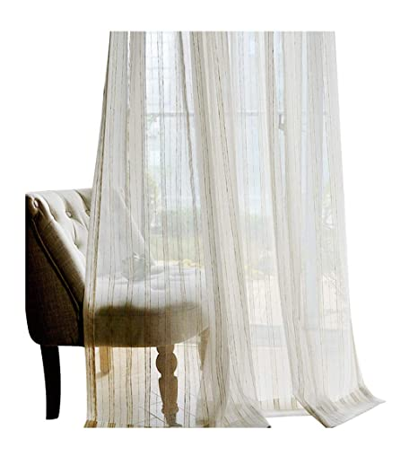 4ea5354a42c ASide BSide Sheer Curtains Rural Style Dense Stripes Knitting Rod Pockets  Voile Draperies Home Treatment For