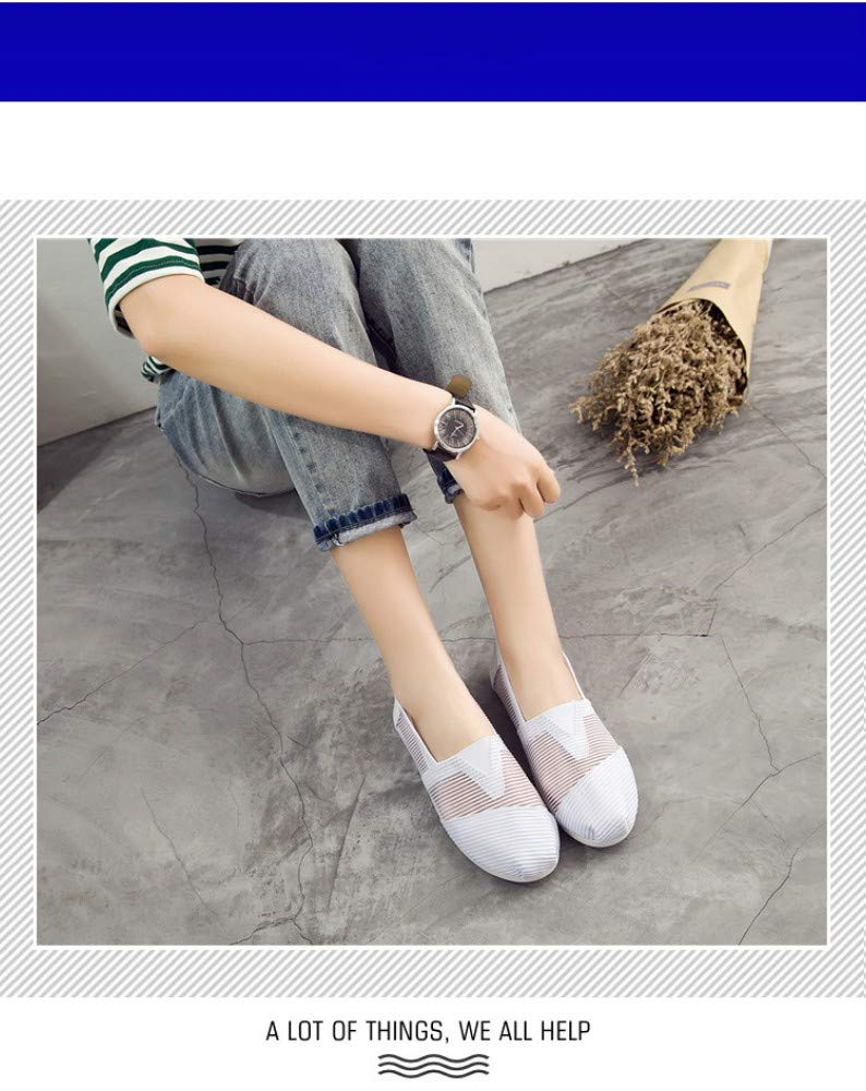 YOPAIYA Espadrilles Plat Loafers Chaussures Plates Respirantes pour Femmes Lazy'S White Chaussures De Toile pour FemmesMocassins FilleChaussures Plates Chaussures Taille Maille