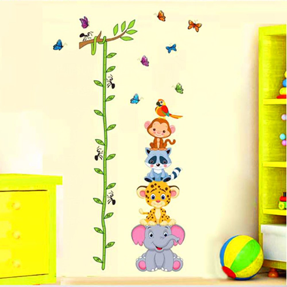 ufengke Cartoon Animals Cute Raccoon Monkey Elephant Leopard and Tree Vines Height Chart Decals, Children's Room Nursery Removable Wall Stickers Murals