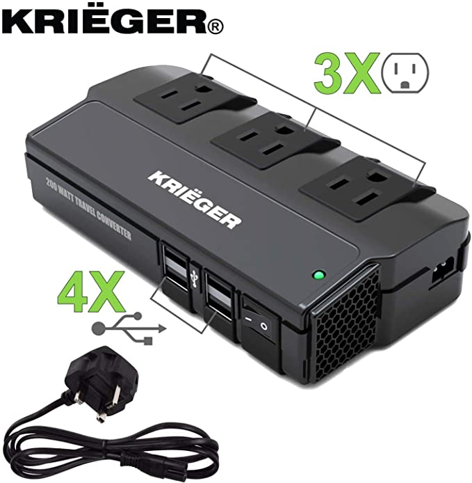 Transformador de Voltaje Krieger, 200 Vatios de Potencia Convierte 220-230 Voltios a 110V. El Convertidor Incluye 3 Toma Corrientes CA y 4 Puertos de Carga USB – Conector de Entrada Tipo UK: Amazon.es: Electrónica