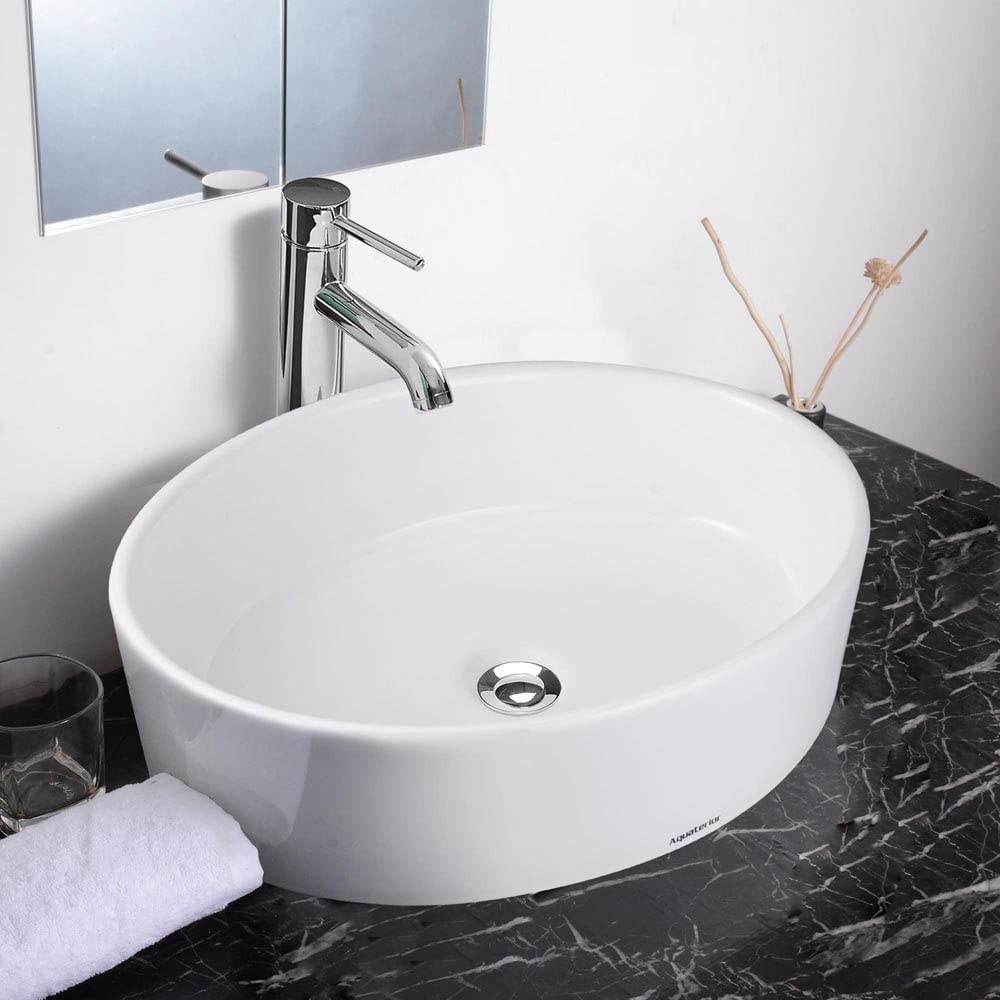 Aquaterior 19-2 3 x14-1 6 x5-1 3 Oval White Porcelain Ceramic Bathroom Sink w Free Chrome Drain