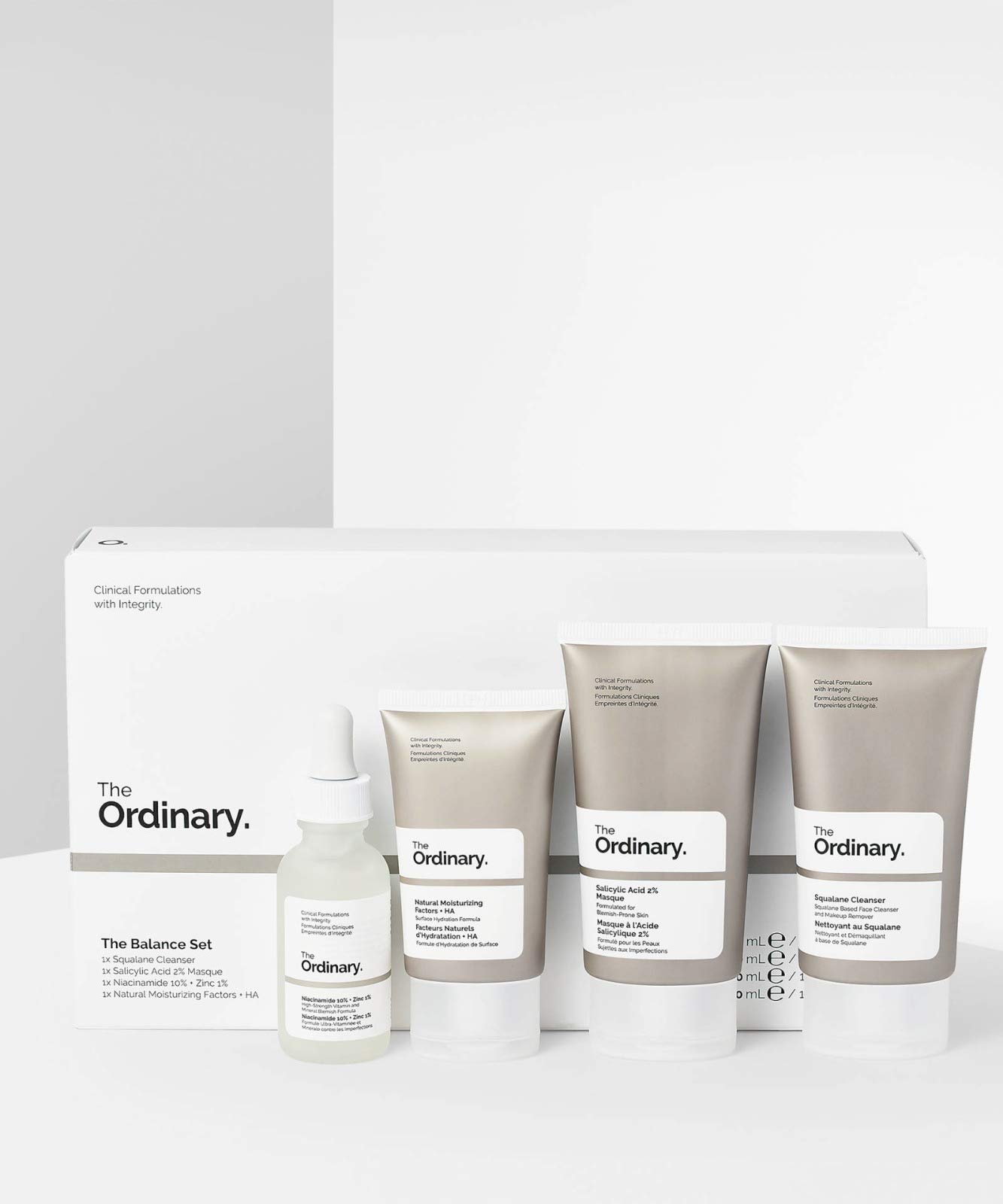 The Ordinary The Balance Set (4 Pcs: Squalance Cleanser + Salicylic Acid 2% Masque + Niacinamide 10% + Zinc 1% + Natural Moisturizing Factors + HA)