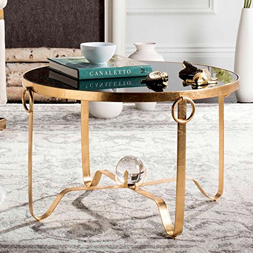 Safavieh Home Collection Elisha Black and Gold Leaf Round Coffee Table