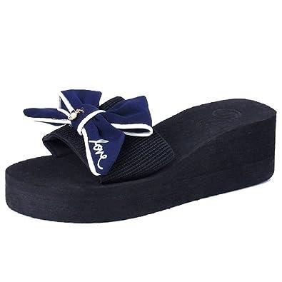 JITIAN Slide Sandal for Women- Summer Open Toe Platforms - Outdoor Bowknot Wedges Shoes