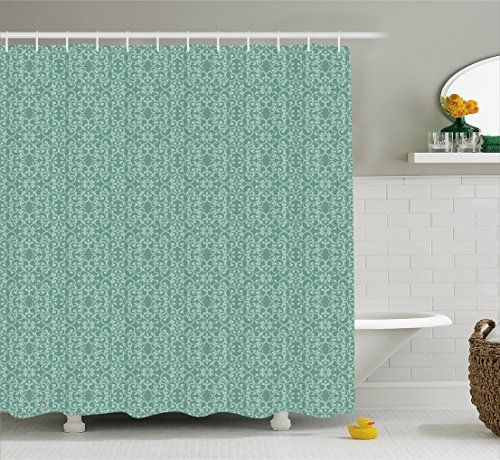 Ambesonne Green Shower Curtain, Vintage Style Victorian Garden Pattern Antique Design Old Fashion Ornaments, Fabric Bathroom Decor Set Hooks, 70 inches, Turquoise (Antique Green Garden)