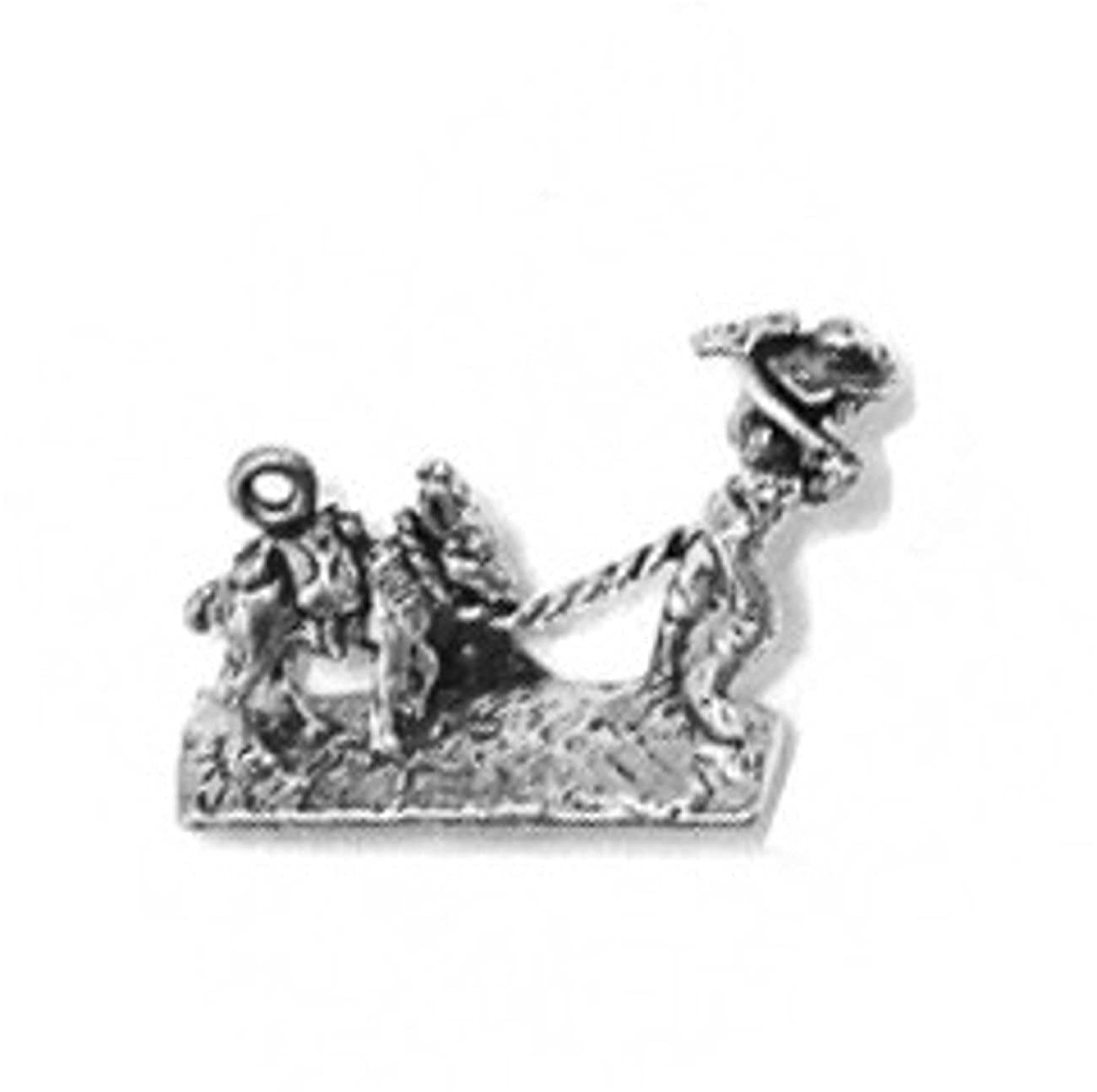 Sterling Silver Charm Bracelet With Attached 3D Gold Prospector Miner Panner Charm With Donkey Anima