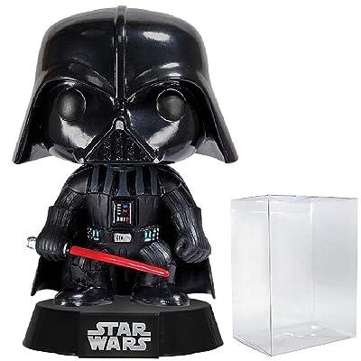 Funko Pop! Star Wars: Classic Darth Vader #01 Vinyl Bobble-Head Figure (Includes Compatible Pop Box Protector Case): Toys & Games