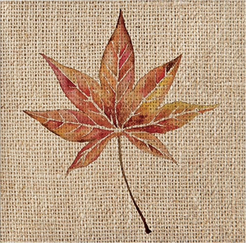 Burlap Leaf Holiday Thanksgiving Party Paper Napkins Beverage Size Pk 48]()