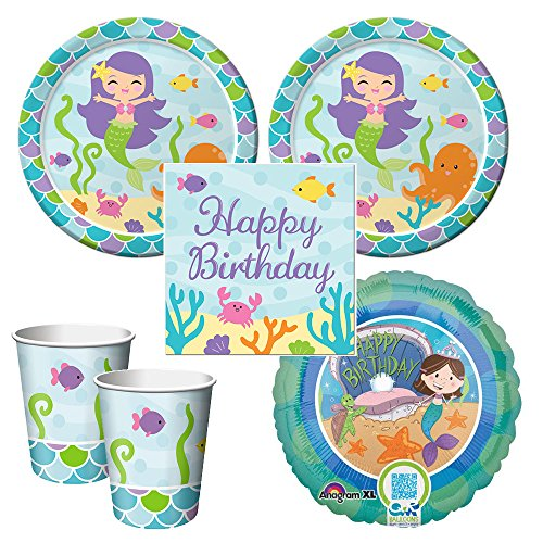 Party Creations Mermaid Friends party pack for 16 guests, lunch plates, napkins, cups plus ()