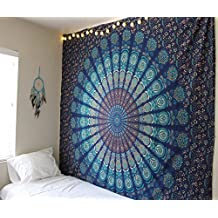 Blue Color Theme Queen Size Mandala Wall Tapestries,peacock tapestry, Psychedelic Indian Tapestry Bedding, Bohemian Wall Hanging, Floral Print queen Bed Cover,hippy tapestry by raajsee 220 * 240