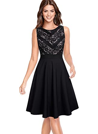 e7068df0225c VFSHOW Womens Floral Lace Patchwork Pocket Casual Party Skater A-Line Dress  365 BLK 3XL at Amazon Women's Clothing store: