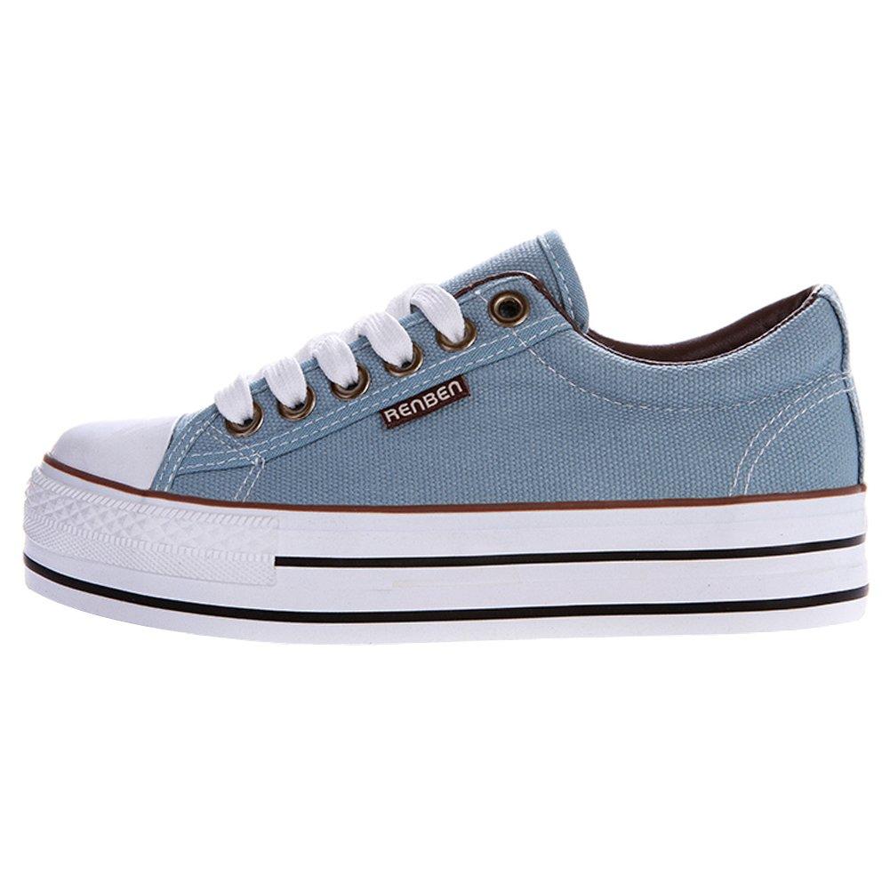 Renben Chicas Mujer Clásico Plataforma Lona Zapatillas Moda Cordón Espadrilla Zapatos: Amazon.es: Zapatos y complementos