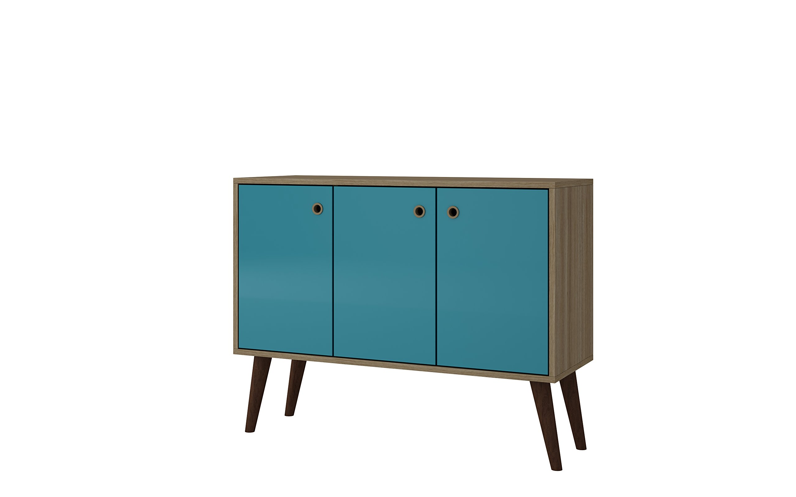 Manhattan Comfort Bromma Collection Mid Century Modern Square Buffet Stand Table With Two Cabinets and Splayed Legs, Wood/Teal