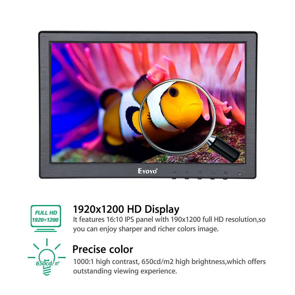 Eyoyo 10 inch IPS Monitor 1920x1200 Resolution Touch Screen Panel Built-in Dual Loudspeakers Support BNC VGA AV HDMI USB Video Input Display For PC Laptop DVR TV Security Camera by Eyoyo (Image #4)