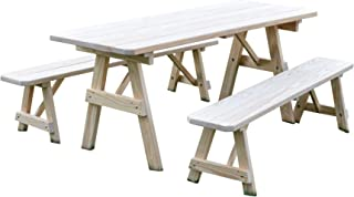 product image for Pressure Treated Pine Unfinished 5 Foot Picnic Table with Detached Benches